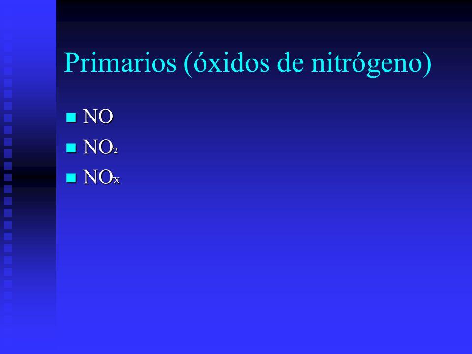 Primarios (óxidos de nitrógeno) NO NO NO 2 NO 2 NO X NO X
