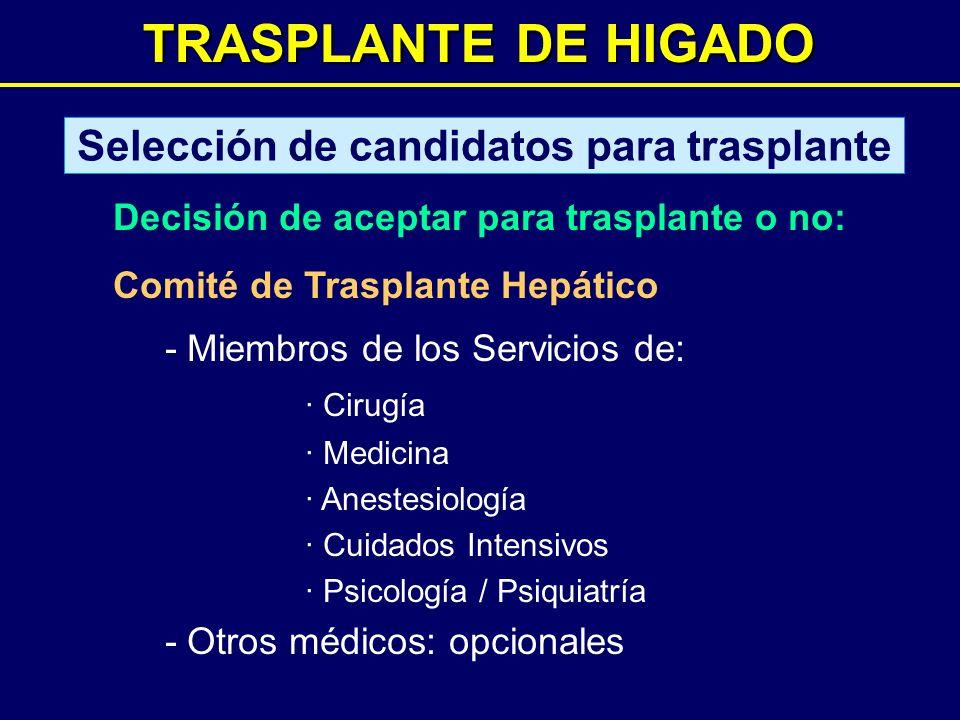 TRASPLANTE DE HIGADO Selección de candidatos para trasplante Decisión de aceptar para trasplante o no: Comité de Trasplante Hepático - Miembros de los