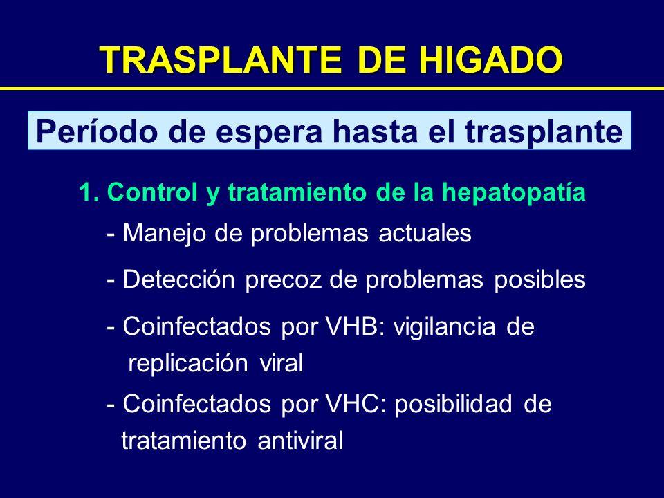 TRASPLANTE DE HIGADO Período de espera hasta el trasplante 1. Control y tratamiento de la hepatopatía - Manejo de problemas actuales - Detección preco