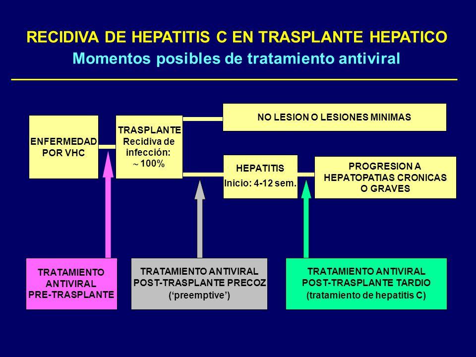 HEPATITIS Inicio: 4-12 sem. NO LESION O LESIONES MINIMAS ENFERMEDAD POR VHC TRASPLANTE Recidiva de infección: 100% RECIDIVA DE HEPATITIS C EN TRASPLAN