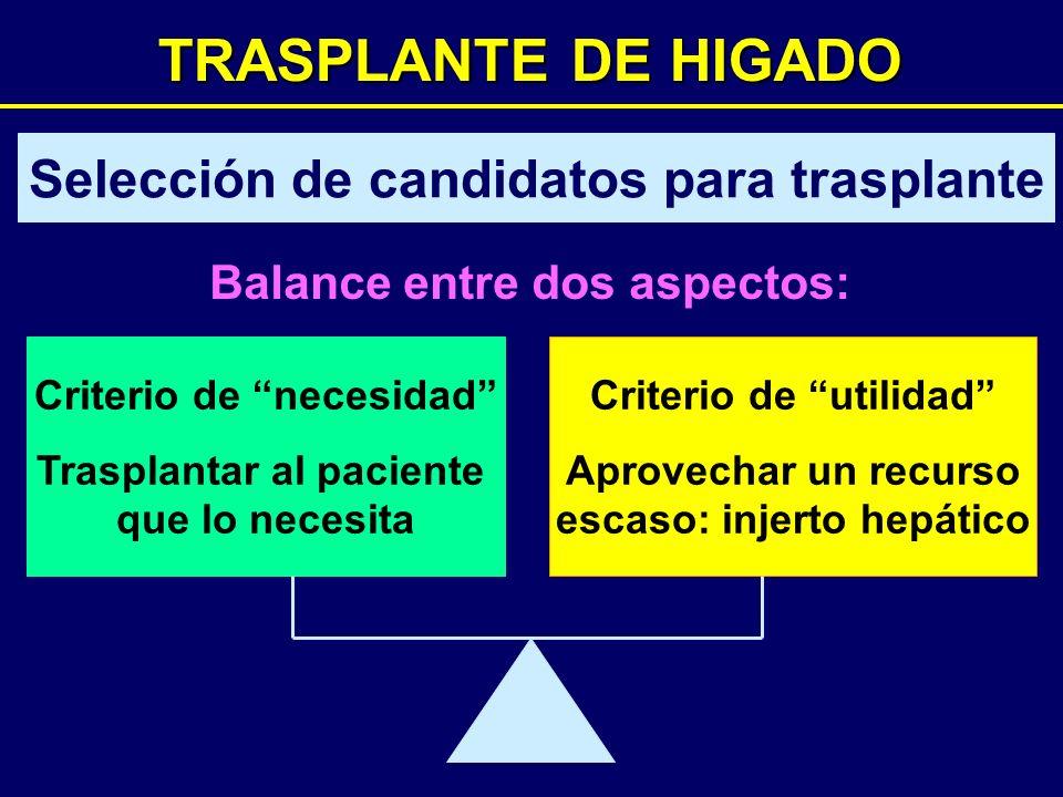 TRASPLANTE DE HIGADO Selección de candidatos para trasplante Balance entre dos aspectos: Criterio de necesidad Trasplantar al paciente que lo necesita