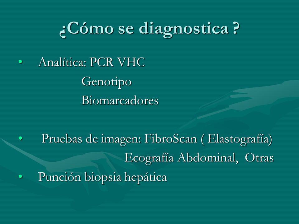 ¿Cómo se diagnostica ? Analítica: PCR VHCAnalítica: PCR VHC Genotipo Genotipo Biomarcadores Biomarcadores Pruebas de imagen: FibroScan ( Elastografía)