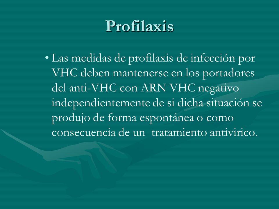 Profilaxis Las medidas de profilaxis de infección por VHC deben mantenerse en los portadores del anti-VHC con ARN VHC negativo independientemente de s