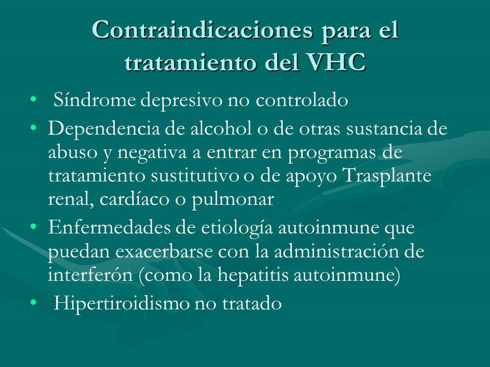 Contraindicaciones para el tratamiento del VHC Síndrome depresivo no controlado Dependencia de alcohol o de otras sustancia de abuso y negativa a entr