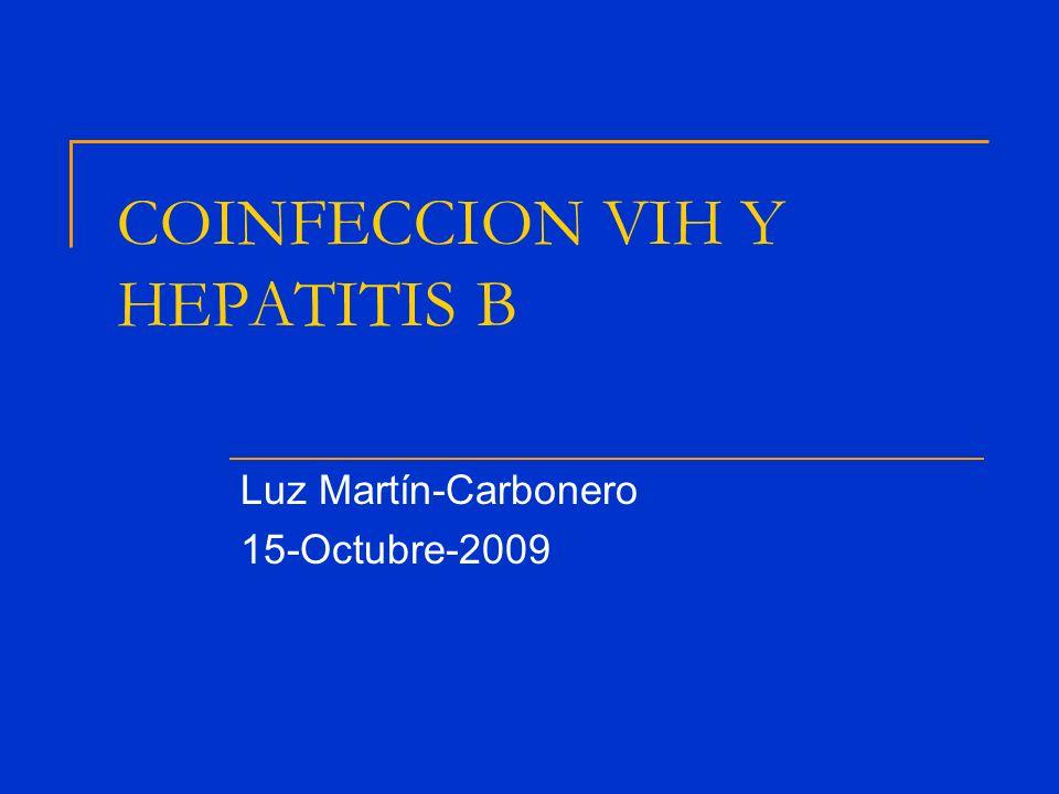 HIV Hepatitis B aguda Anti-HBs Anti-HBc Chronica HBsAg Anti-HBeHBeAg HBV-DNA neg HBV-DNA pos Cirrosis Decompensación hepatica Hepatocarcinoma Respuesta inmuneProgresion HISTORIA NATURAL DEL VHB Y EFECTO DEL VIH