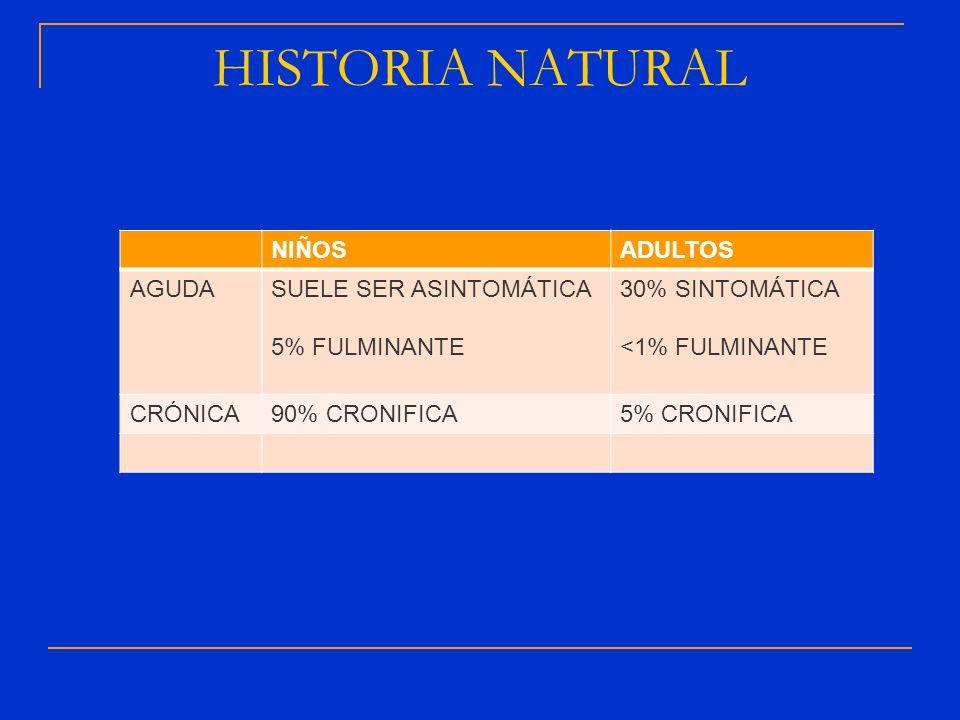 HISTORIA NATURAL NIÑOSADULTOS AGUDASUELE SER ASINTOMÁTICA 5% FULMINANTE 30% SINTOMÁTICA <1% FULMINANTE CRÓNICA90% CRONIFICA5% CRONIFICA