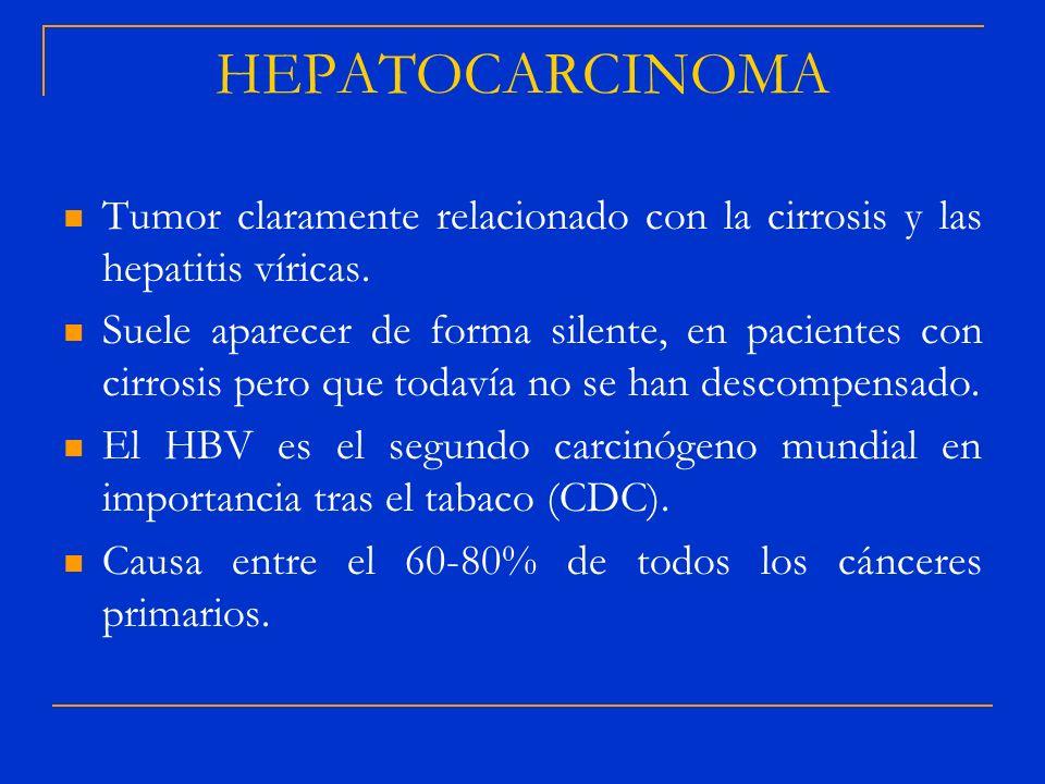 HEPATOCARCINOMA Tumor claramente relacionado con la cirrosis y las hepatitis víricas. Suele aparecer de forma silente, en pacientes con cirrosis pero