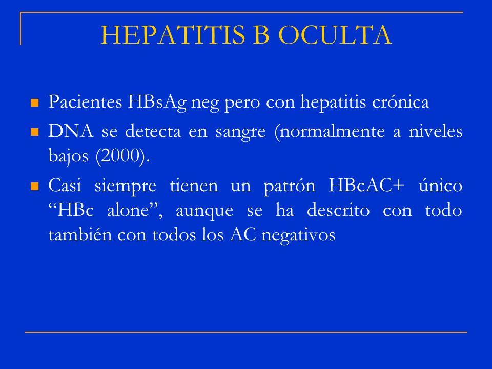 Pacientes HBsAg neg pero con hepatitis crónica DNA se detecta en sangre (normalmente a niveles bajos (2000). Casi siempre tienen un patrón HBcAC+ únic
