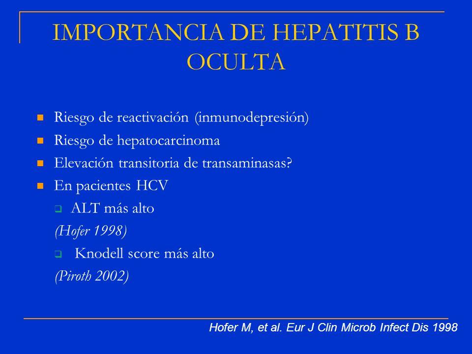 IMPORTANCIA DE HEPATITIS B OCULTA Riesgo de reactivación (inmunodepresión) Riesgo de hepatocarcinoma Elevación transitoria de transaminasas? En pacien