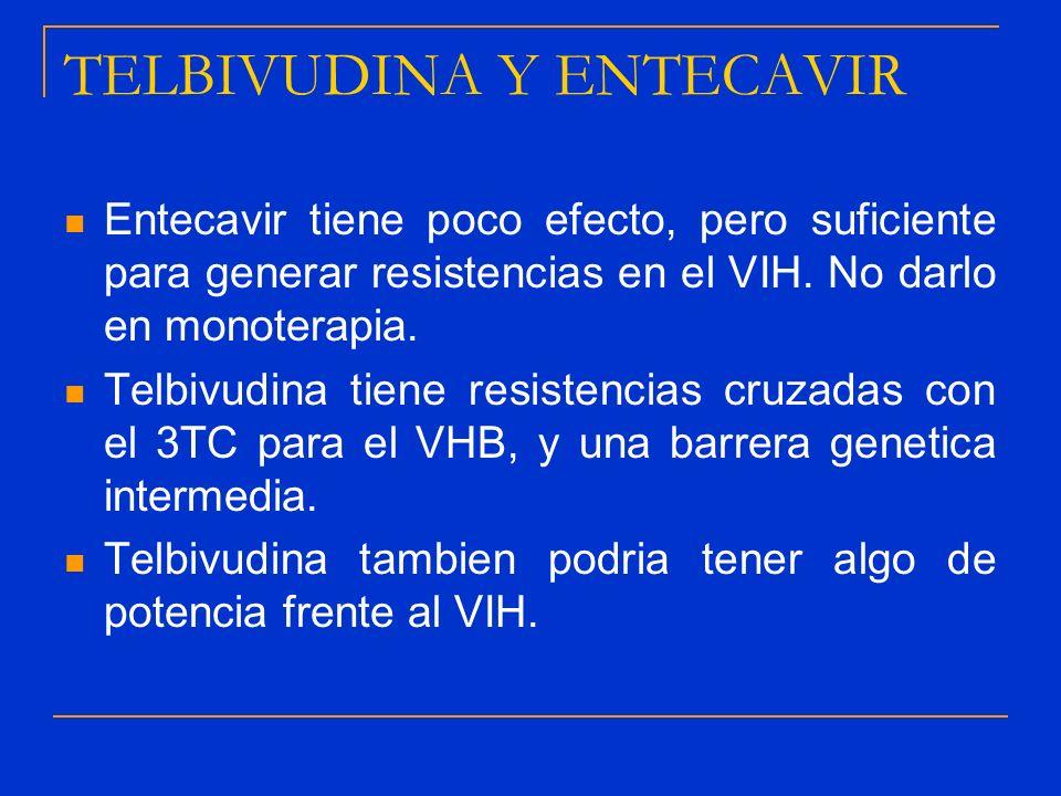 TELBIVUDINA Y ENTECAVIR Entecavir tiene poco efecto, pero suficiente para generar resistencias en el VIH. No darlo en monoterapia. Telbivudina tiene r