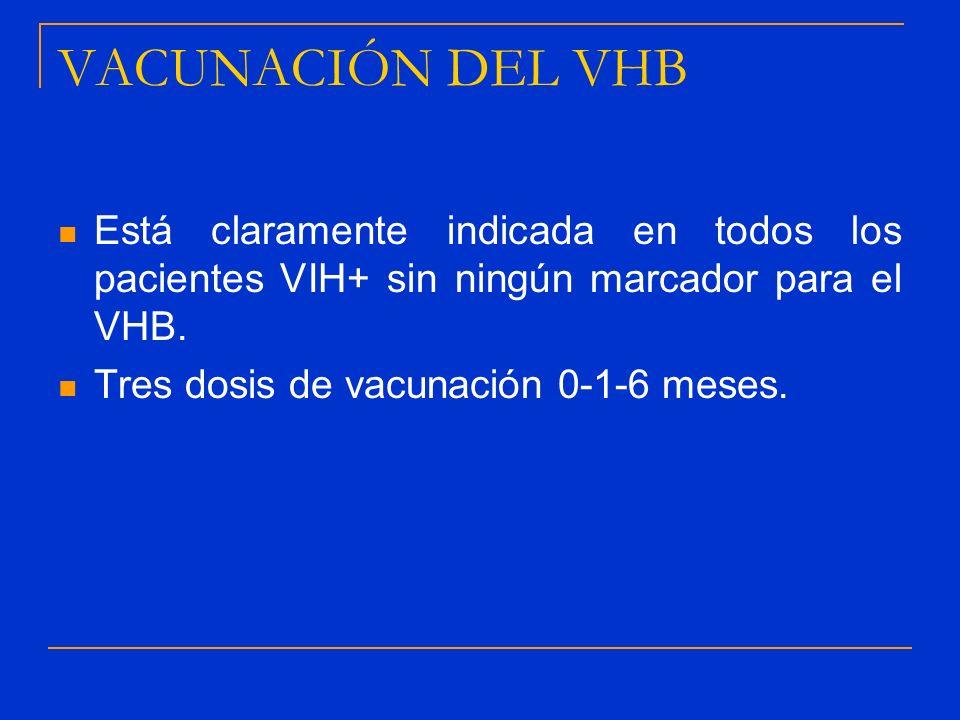 VACUNACIÓN DEL VHB Está claramente indicada en todos los pacientes VIH+ sin ningún marcador para el VHB. Tres dosis de vacunación 0-1-6 meses.