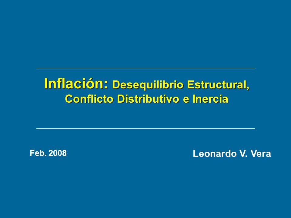Inflación: Desequilibrio Estructural, Conflicto Distributivo e Inercia Leonardo V. Vera Feb. 2008