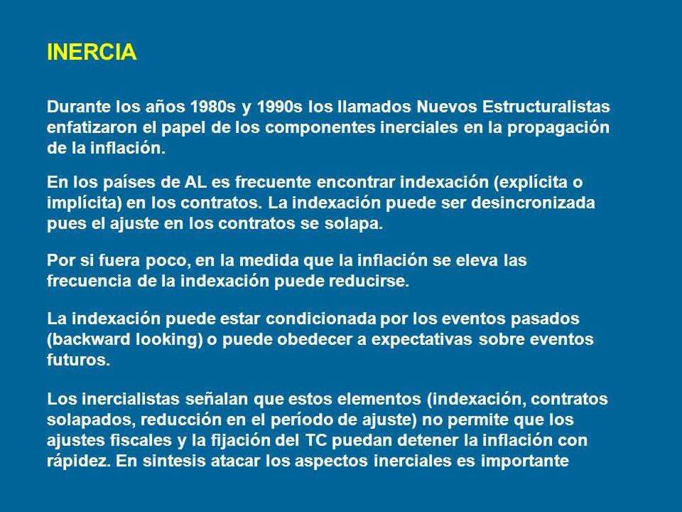 INERCIA Durante los años 1980s y 1990s los llamados Nuevos Estructuralistas enfatizaron el papel de los componentes inerciales en la propagación de la