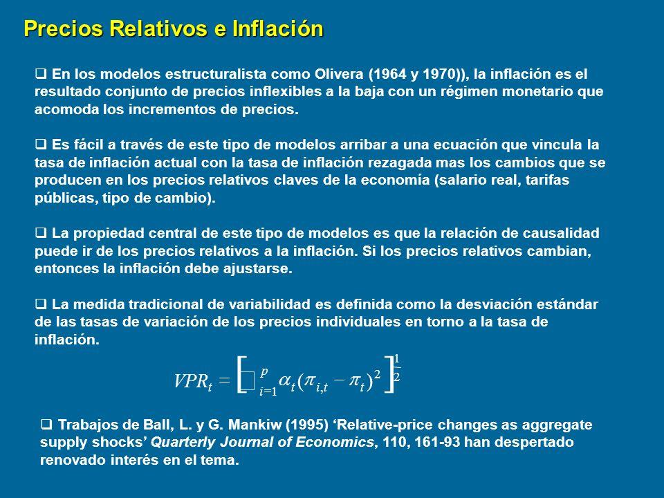 Precios Relativos e Inflación en Uruguay Data mensual 1985:12 a 1998:05 Masoler, A.