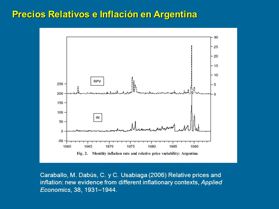 Precios Relativos e Inflación en Argentina Caraballo, M. Dabús, C. y C. Usabiaga (2006) Relative prices and inflation: new evidence from different inf