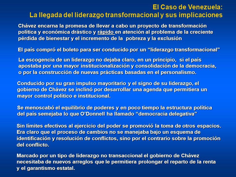 El Caso de Venezuela: La llegada del liderazgo transformacional y sus implicaciones La escogencia de un liderazgo no dejaba claro, en un principio, si el país apostaba por una mayor institucionalización y consolidación de la democracia, o por la construcción de nuevas prácticas basadas en el personalismo.