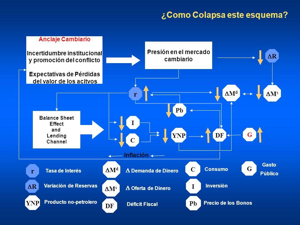 ¿Como Colapsa este esquema? C R M s r YNP I DF Pb M d Balance Sheet Effect and Lending Channel Presión en el mercado cambiario Anclaje Cambiario Incer