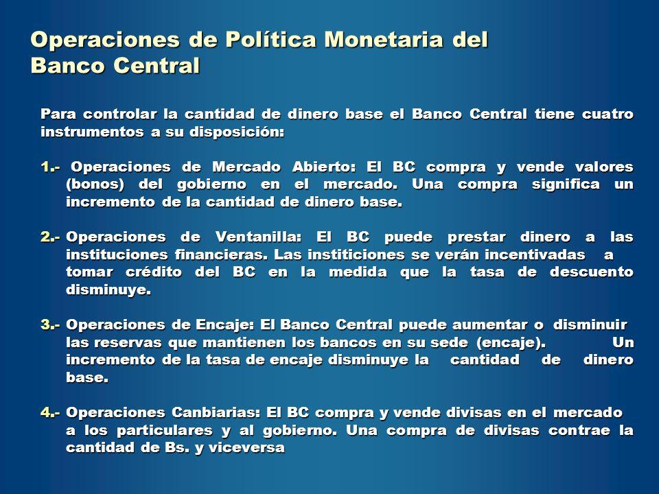 Para controlar la cantidad de dinero base el Banco Central tiene cuatro instrumentos a su disposición: 1.- Operaciones de Mercado Abierto: El BC compr