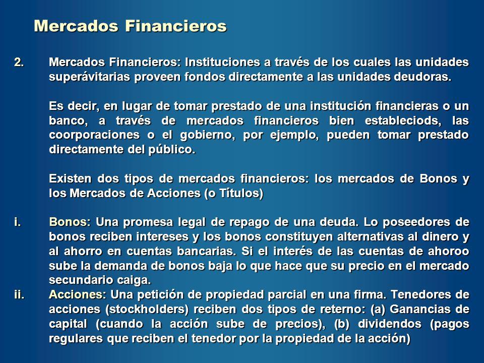 2.Mercados Financieros: Instituciones a través de los cuales las unidades superávitarias proveen fondos directamente a las unidades deudoras. Es decir