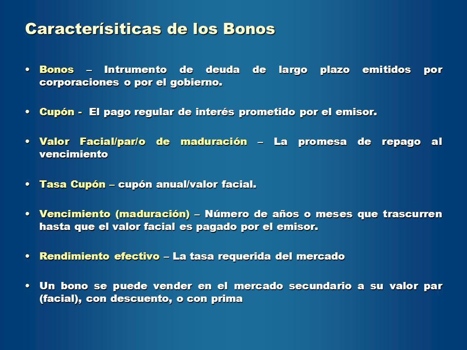 Bonos – Intrumento de deuda de largo plazo emitidos por corporaciones o por el gobierno.Bonos – Intrumento de deuda de largo plazo emitidos por corpor