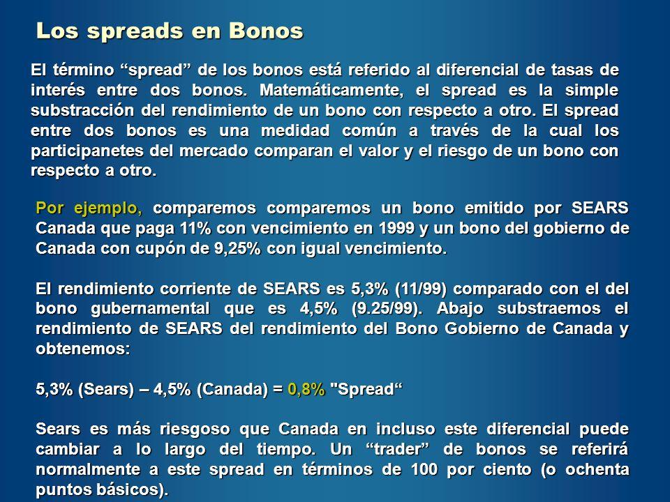 Los spreads en Bonos El término spread de los bonos está referido al diferencial de tasas de interés entre dos bonos. Matemáticamente, el spread es la