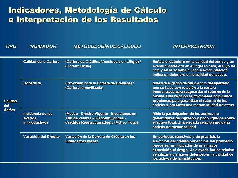 Indicadores, Metodología de Cálculo e Interpretación de los Resultados TIPOINDICADOR METODOLOGÍA DE CÁLCULO INTERPRETACIÓN CalidaddelActivo Calidad de
