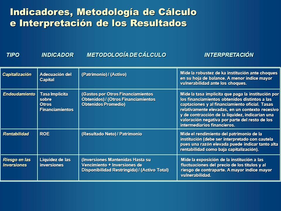 Indicadores, Metodología de Cálculo e Interpretación de los Resultados TIPOINDICADOR METODOLOGÍA DE CÁLCULO INTERPRETACIÓN Capitalización Capitalizaci