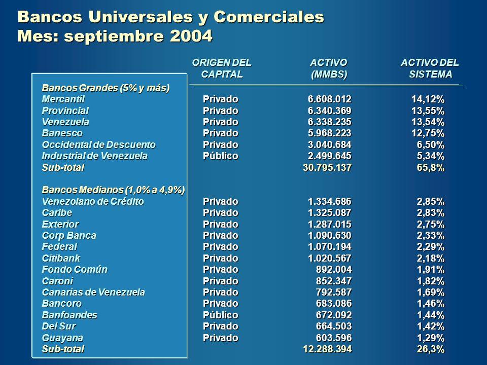 Bancos Universales y Comerciales Mes: septiembre 2004 Bancos Grandes (5% y más) MercantilProvincialVenezuelaBanesco Occidental de Descuento Industrial