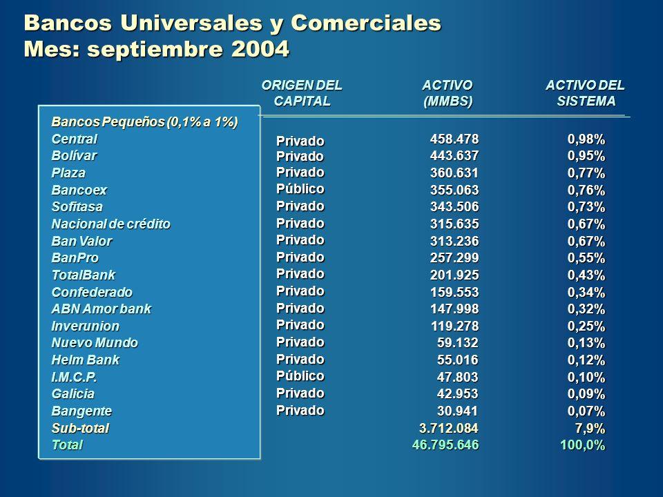 Bancos Universales y Comerciales Mes: septiembre 2004 Bancos Pequeños (0,1% a 1%) CentralBolívarPlazaBancoexSofitasa Nacional de crédito Ban Valor Ban