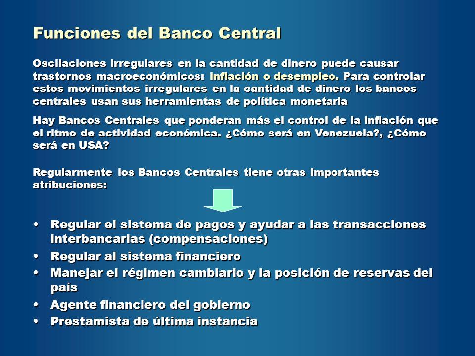 Funciones del Banco Central Regular el sistema de pagos y ayudar a las transacciones interbancarias (compensaciones)Regular el sistema de pagos y ayud