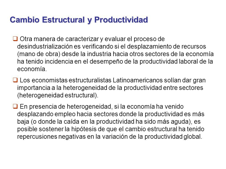 Cambio Estructural y Productividad Otra manera de caracterizar y evaluar el proceso de desindustrialización es verificando si el desplazamiento de recursos (mano de obra) desde la industria hacia otros sectores de la economía ha tenido incidencia en el desempeño de la productividad laboral de la economía.