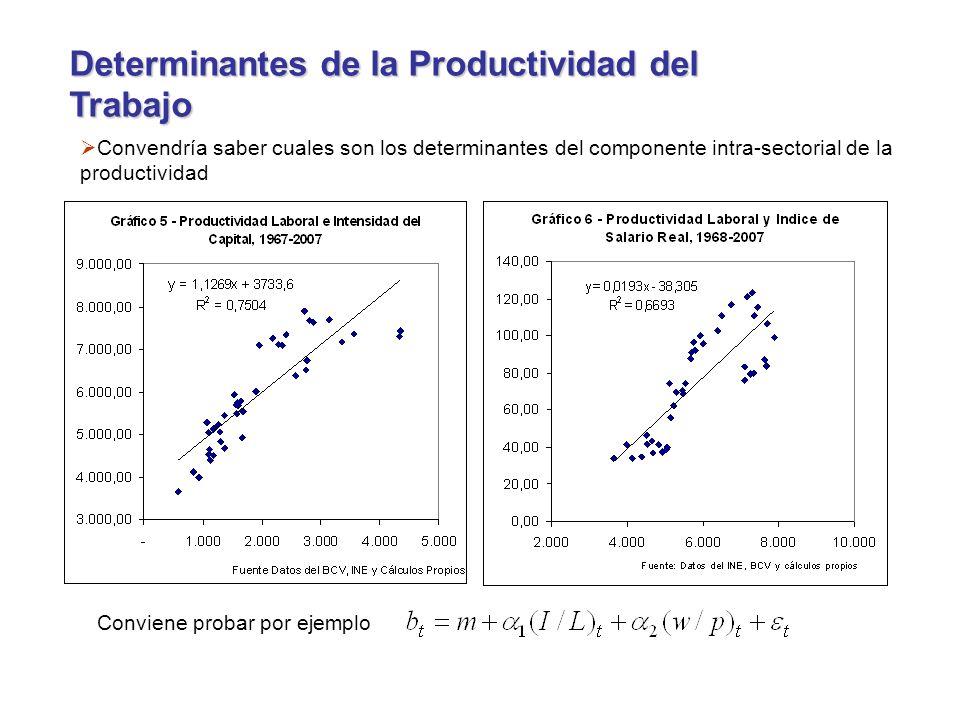 Determinantes de la Productividad del Trabajo Convendría saber cuales son los determinantes del componente intra-sectorial de la productividad Conviene probar por ejemplo