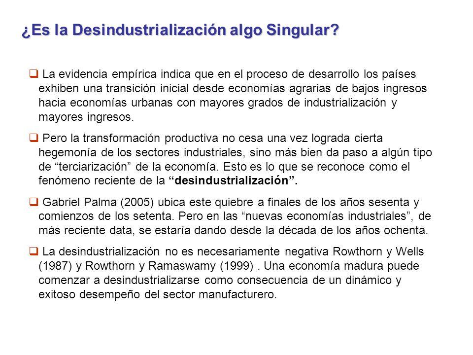 La Desindutrialización supone Cambio Estructural en la Dimensión Productiva ¿Qué es eso?: Cambio en la composición de la producción y en el uso de los recursos.