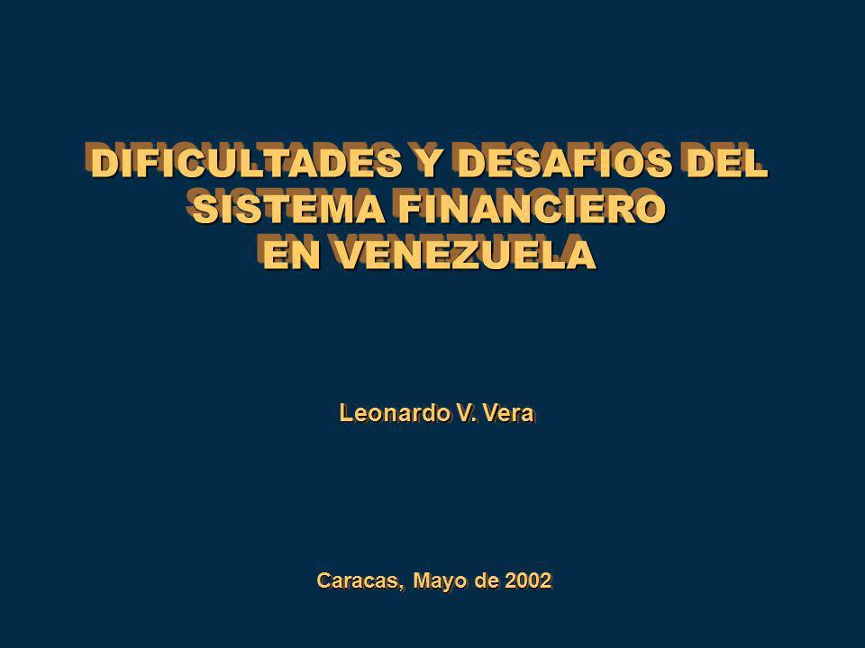Reservas Requeridas y Excedentes de los Bancos Comerciales y Universales en el BCV (porcentaje sobre los depósitos) 0,00% 4,00% 8,00% 12,00% 16,00% 20,00% ene-94 jul-94 ene-95 jul-95 ene-96 jul-96 ene-97 jul-97 ene-98 jul-98 ene-99 jul-99 ene-00 jul-00 Reservas Requeridas Reservas Excedentes Encaje de los Bancos en el Banco Central Elevadisima posición de recursos líquidos para cumplir con el encaje legal y para cubrir contigencias de liquidez Elevadisima posición de recursos líquidos para cumplir con el encaje legal y para cubrir contigencias de liquidez ¿Que sentido tiene mantener encajes legales altos.