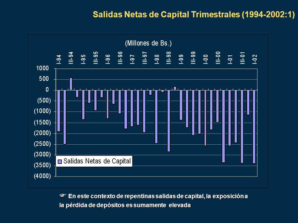 Salidas Netas de Capital Trimestrales (1994-2002:1) En este contexto de repentinas salidas de capital, la exposición a la pérdida de depósitos es sumamente elevada En este contexto de repentinas salidas de capital, la exposición a la pérdida de depósitos es sumamente elevada