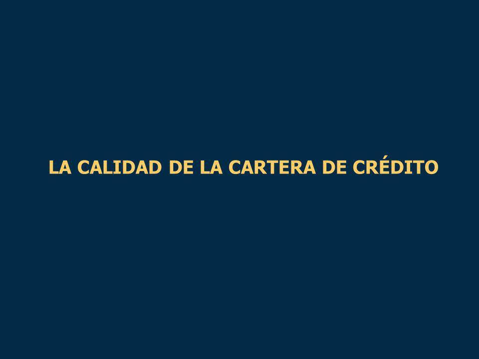 LA CALIDAD DE LA CARTERA DE CRÉDITO