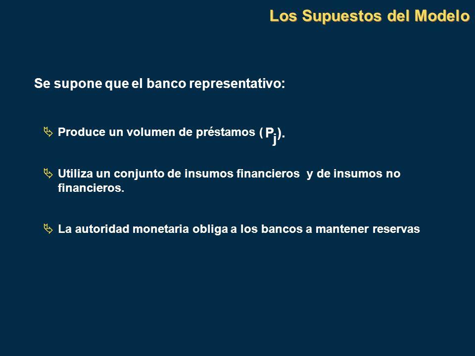 Los Supuestos del Modelo Se supone que el banco representativo: Produce un volumen de préstamos ( P j ). Utiliza un conjunto de insumos financieros y