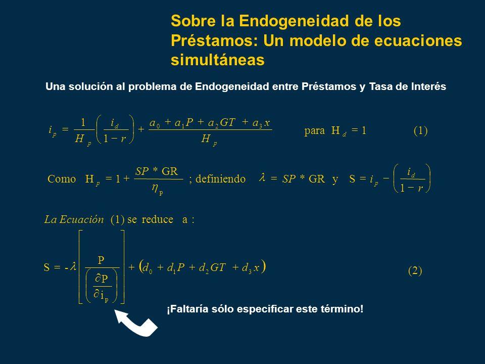Sobre la Endogeneidad de los Préstamos: Un modelo de ecuaciones simultáneas Una solución al problema de Endogeneidad entre Préstamos y Tasa de Interés