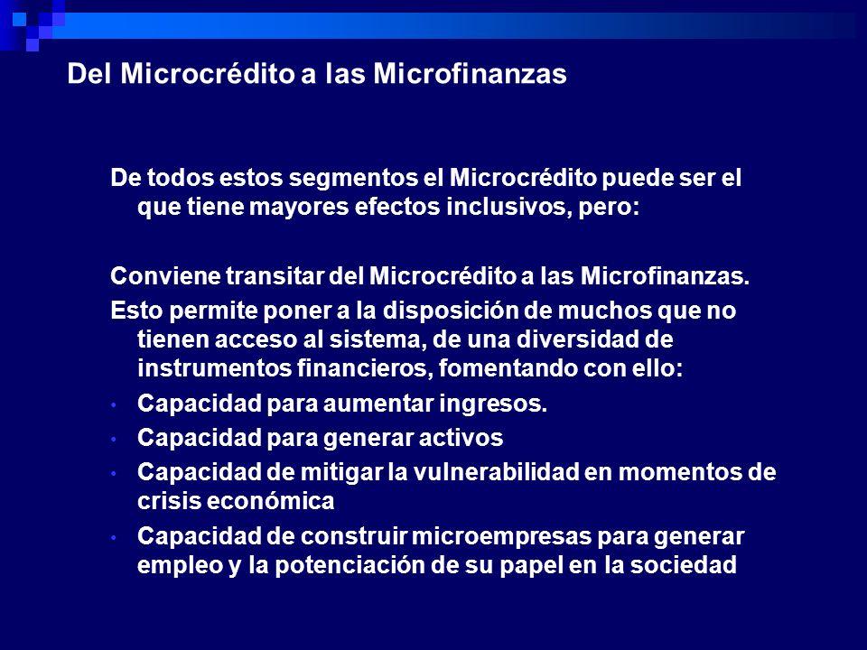 De todos estos segmentos el Microcrédito puede ser el que tiene mayores efectos inclusivos, pero: Conviene transitar del Microcrédito a las Microfinan