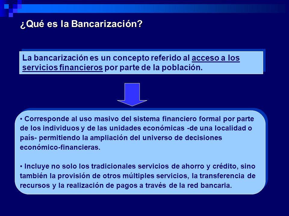 ¿Qué es la Bancarización? La bancarización es un concepto referido al acceso a los servicios financieros por parte de la población. Corresponde al uso