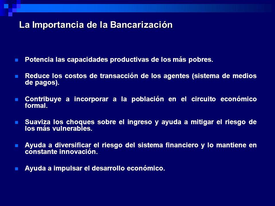 La Importancia de la Bancarización Potencia las capacidades productivas de los más pobres. Reduce los costos de transacción de los agentes (sistema de