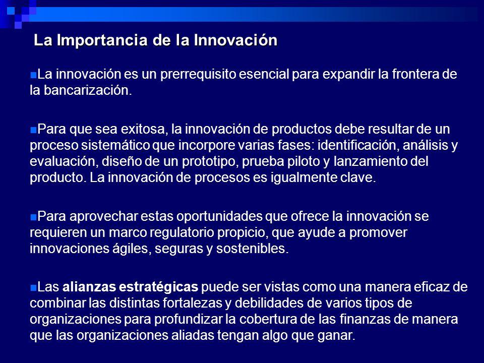 La Importancia de la Innovación La innovación es un prerrequisito esencial para expandir la frontera de la bancarización. Para que sea exitosa, la inn