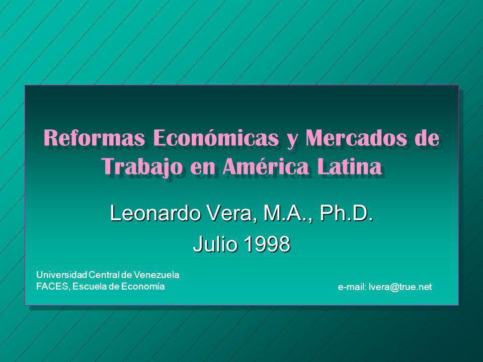 Reformas Económicas y Mercados de Trabajo en América Latina Leonardo Vera, M.A., Ph.D. Julio 1998 Universidad Central de Venezuela FACES, Escuela de E