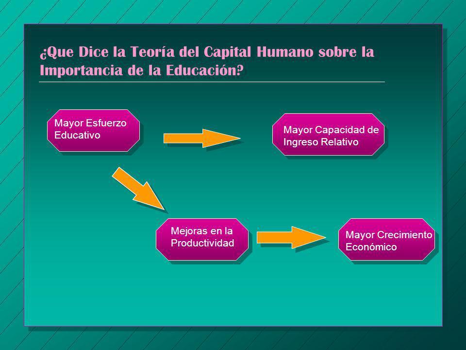 ¿Que Dice la Teoría del Capital Humano sobre la Importancia de la Educación? Mayor Esfuerzo Educativo Mayor Capacidad de Ingreso Relativo Mejoras en l