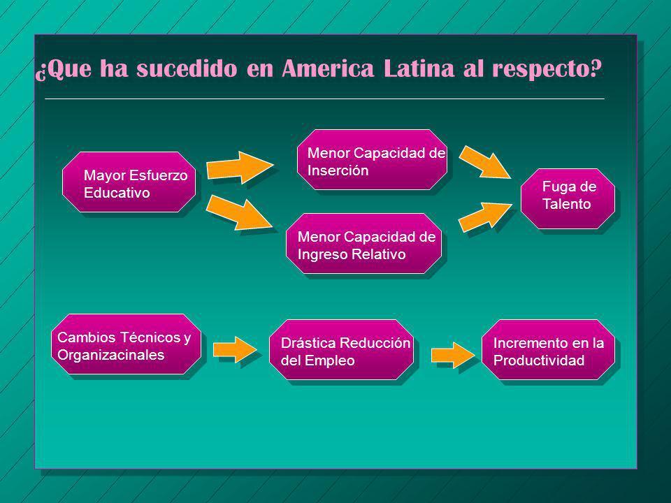 ¿Que ha sucedido en America Latina al respecto? Serias Dificultades de Inserción Mayor Esfuerzo Educativo Menor Capacidad de Inserción Fuga de Talento