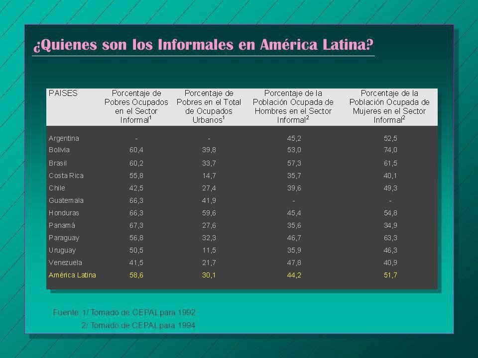 ¿Quienes son los Informales en América Latina? Fuente: 1/ Tomado de CEPAL para 1992 2/ Tomado de CEPAL para 1994