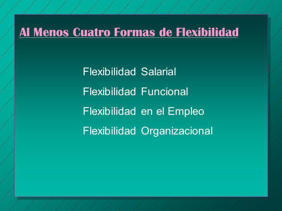 Al Menos Cuatro Formas de Flexibilidad Flexibilidad Salarial Flexibilidad Funcional Flexibilidad en el Empleo Flexibilidad Organizacional