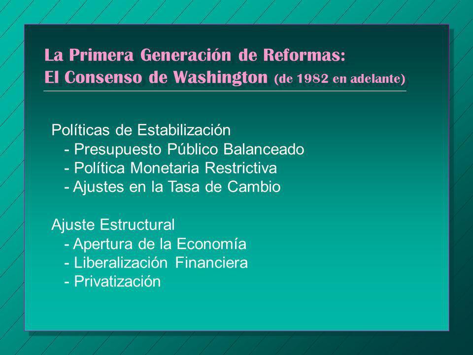 La Primera Generación de Reformas: El Consenso de Washington (de 1982 en adelante) Políticas de Estabilización - Presupuesto Público Balanceado - Polí