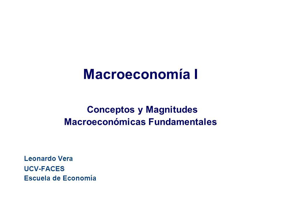 Macroeconomía I Conceptos y Magnitudes Macroeconómicas Fundamentales Leonardo Vera UCV-FACES Escuela de Economía