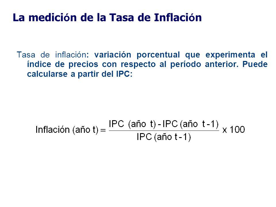 La medici ó n de la Tasa de Inflaci ó n Tasa de inflación: variación porcentual que experimenta el índice de precios con respecto al período anterior.